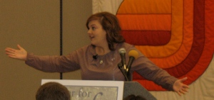 Abby Johnson speaking at the Des Moines Catholic Pastoral Center