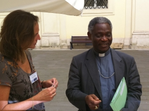 Bourne meets with Ghana's Cardinal Peter Turkson, whom some say is on the shortlist for  pope