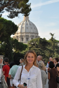 Catholic journalist, Lisa Bourne, in the Vatican City