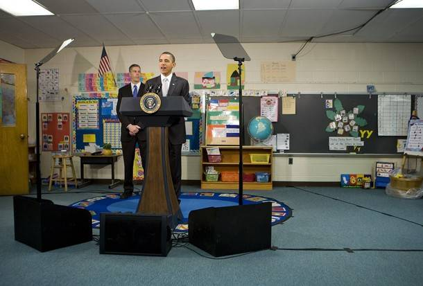 President Obama schlepps a tele-prompter to a speaking event for 8 year olds
