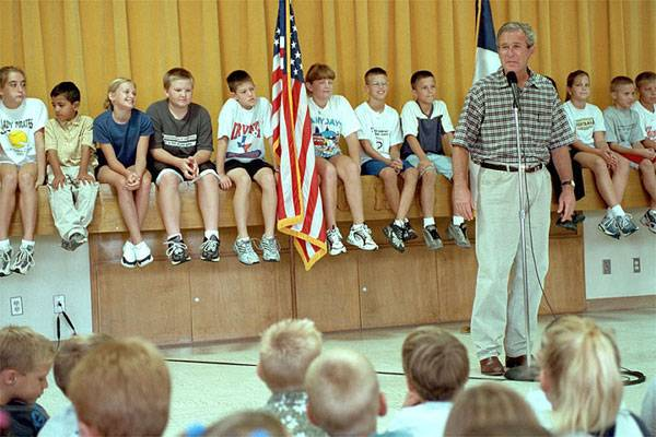 President Bush just talked to the kids