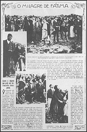 A photostatic copy of a page from Ilustração Portugueza, October 29, 1917, showing the crowd looking at the Miracle of the Sun during the Fátima apparitions.