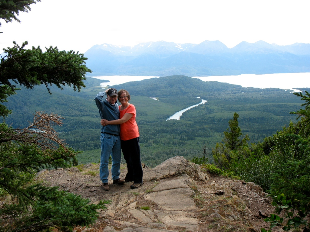 Karen and I did a little hiking in Alaska. The wind just about took my hat.