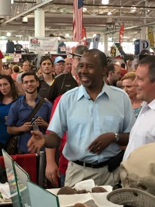 Dr. Ben Carson stops by Iowa Right to Life's booth at the Iowa State Fair