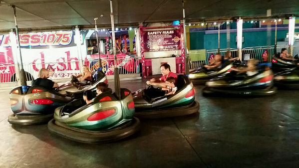 Marco Rubio riding the Bumper Cars at the Iowa State Fair
