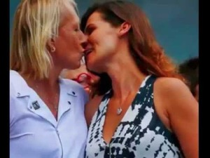 Martina Navratilova with her wife