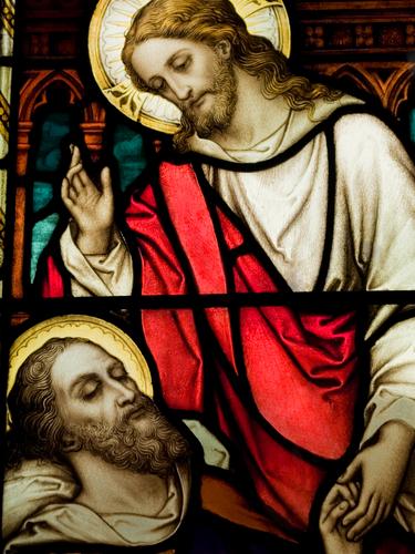 Jesus heals Bartimaeus, the blind man